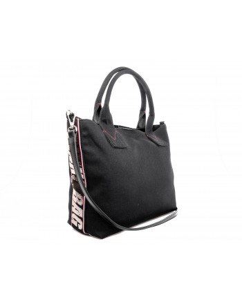 PINKO - Canvas Shopping Bag CRESTOSO - Black