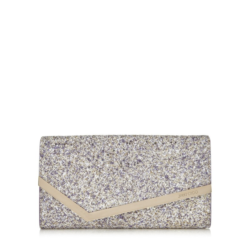 JIMMY CHOO - Borsa Clutch EMMIE Glitter - Platinum Mix