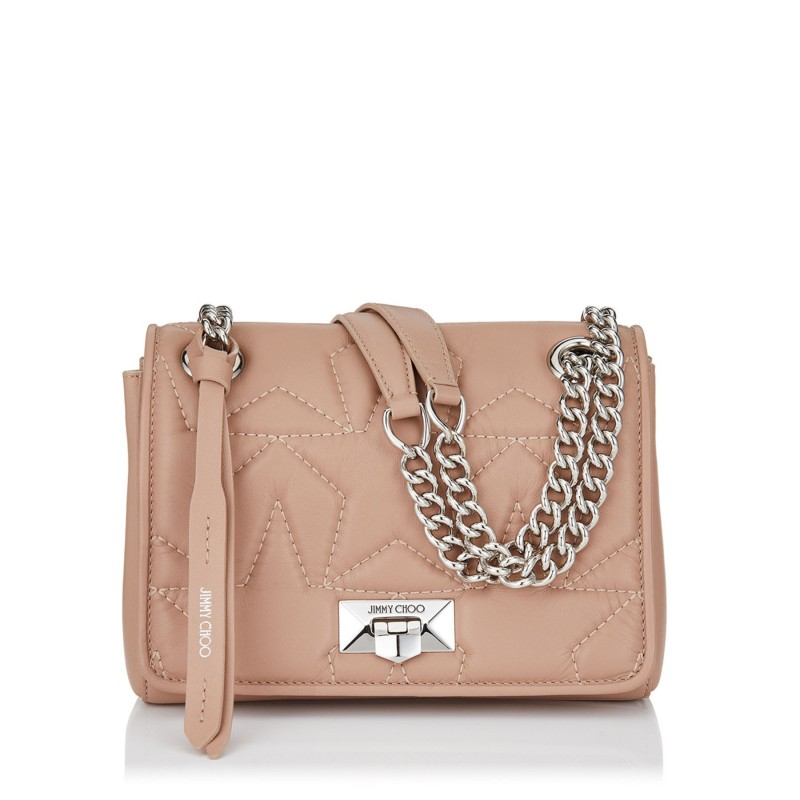 JIMMY CHOO - Matellassè Leather Shoulder Bag HELIA Small - Ballet Pink