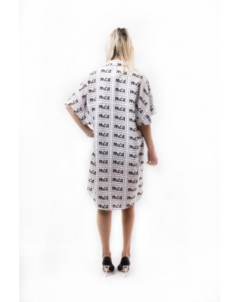 MCQ BY ALEXANDER MCQUEEN - Linen all over printed Dress - Ivory/Black