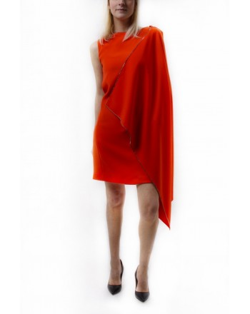 MCQ BY ALEXANDER MCQUEEN - Dress CASCADE with Drape on Sleeve - True Red