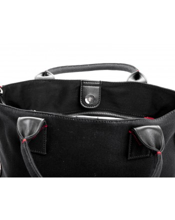 PINKO - Canvas Shopping Bag CRESTOSO - Black