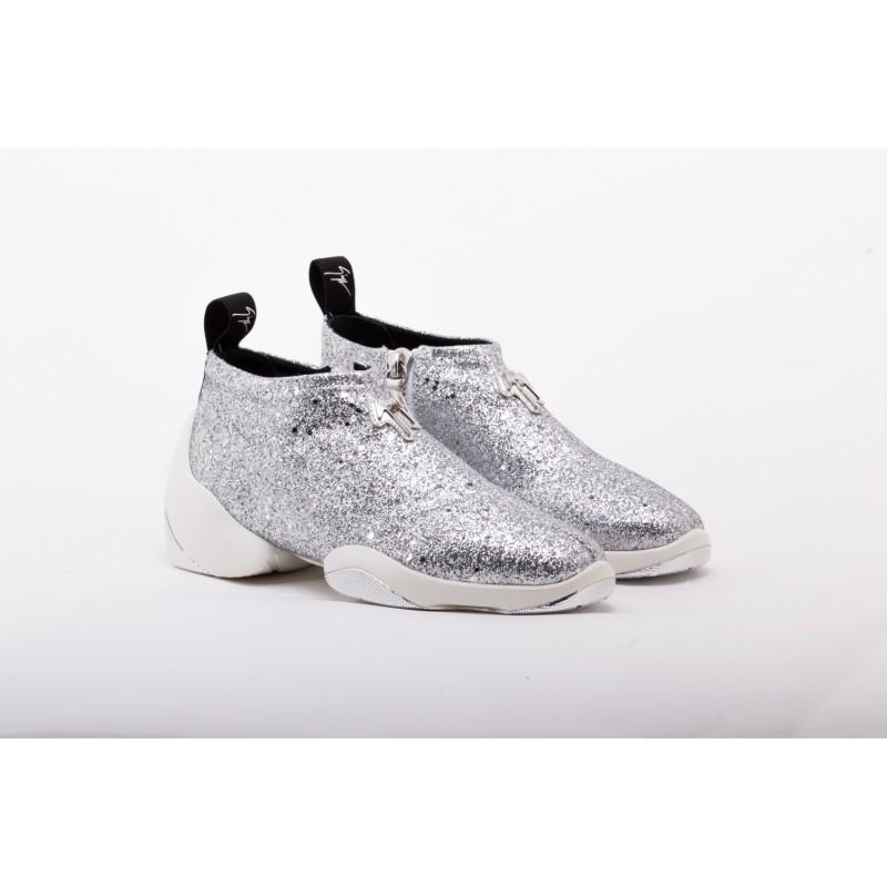 GIUSEPPE ZANOTTI - Sneakers Mid Top GLITTER JUMP - Argento