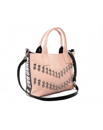 PINKO -  PRESANELLA Patent leather  bag with studs - Pink