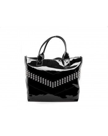 PINKO -  SINAI shopping bag in patent leather - Black
