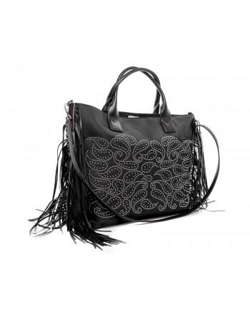 PINKO - Shopping ILLIMANI with side fringes - Black