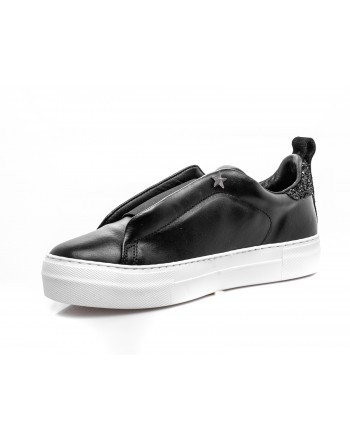 LES COPAINS - Sneakers in leather slip-on - Black