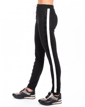 LIU-JO - Pantalone CAROLINA  con pizzo - Nero/Bianco