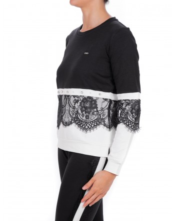 LIU-JO - CAROLINA Sweatshirt with Lace - Black/White