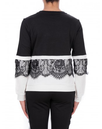 LIU-JO - CAROLINA Sweatshirt with Lace - Black/White