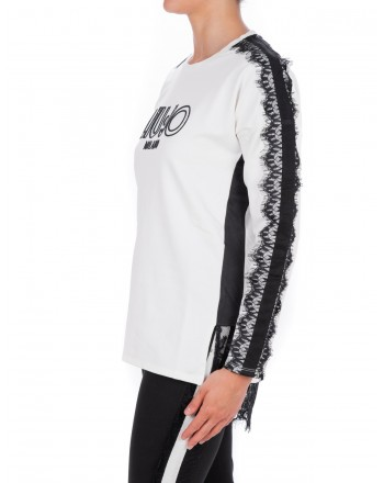 LIU-JO - CAROLINA Sweatshirt with Lace - White/Black
