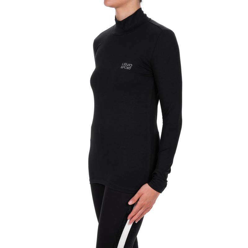 LIU-JO - T-Shirt BASIC in cotone manica lunga - Nero