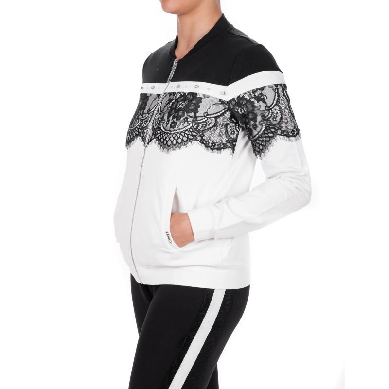 LIU-JO - Felpa CAROLINA con zip - Nero/Bianco
