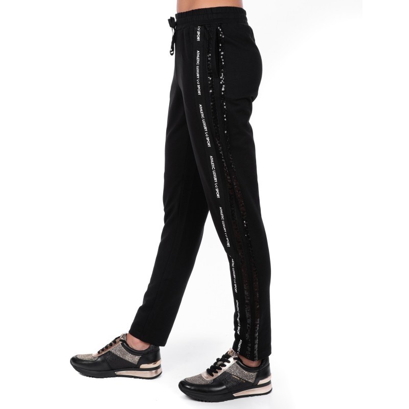 LIU-JO - Pantalone AMBRA in cotone con paillettes - Nero