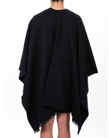EMPORIO ARMANI - Cashmere and Wool Cape - Black/Blue