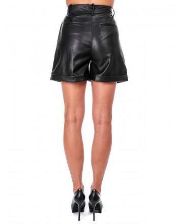 PINKO - CROCIATE Shorts in eco-leather - Black