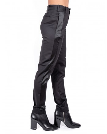 PINKO - Wool Trousers with Satin Detail EMILIO - Black