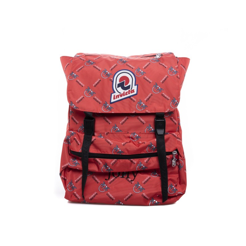 PINKO - JOLLY IN LOVE backpack in canvas - Red/White