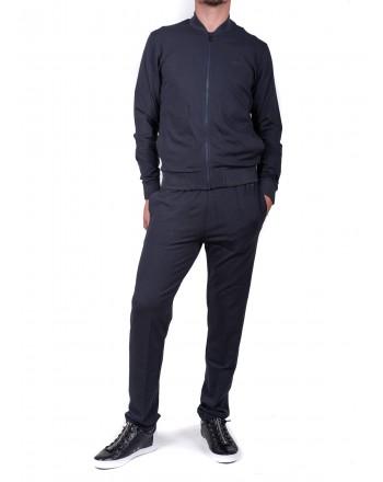 ERMENEGILDO ZEGNA - Felpa in Cotone e Modal con Zip - Blu