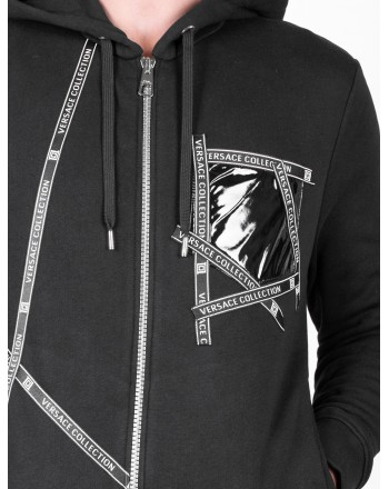 VERSACE COLLECTION - Cotton Sweatshirt with Hood and Logo Writings - Black