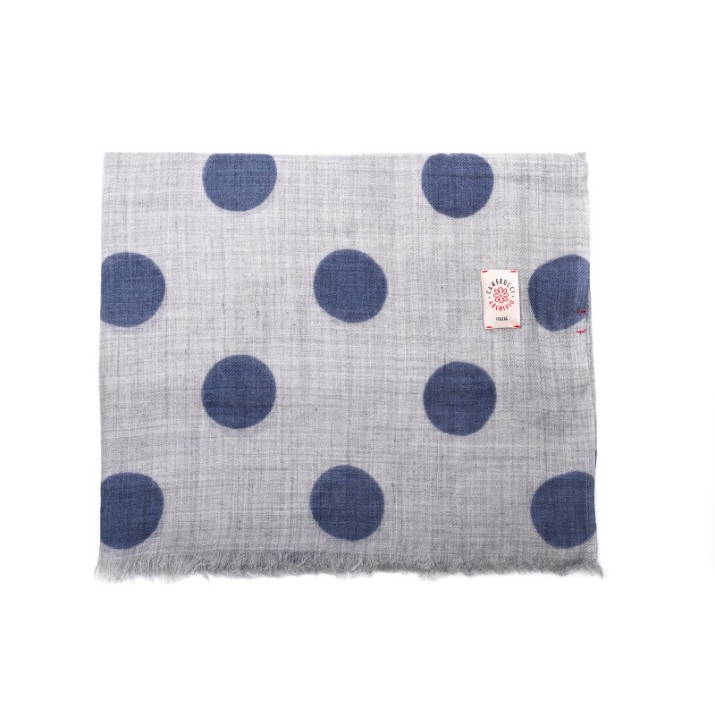 CAMERUCCI - Stole Ortensia with polka dots - Grey Avion