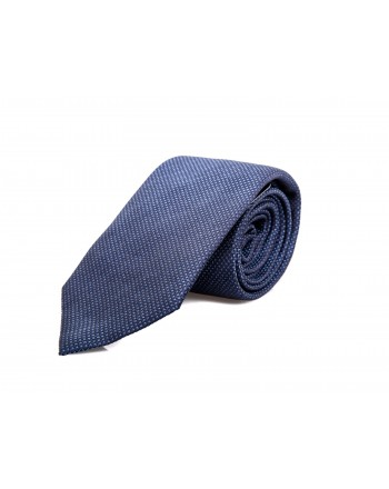 EMPORIO ARMANI - Micropatterned Silk Tie  - Blue
