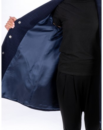 LOVE MOSCHINO - Check coat with heart buttons - Black/Blue