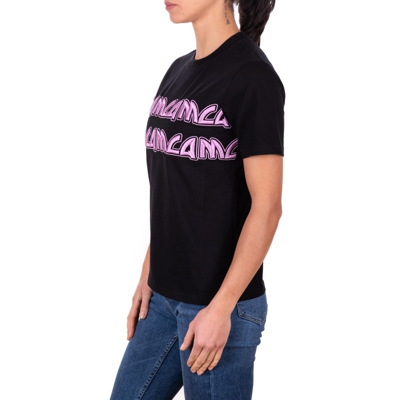 MCQ BY ALEXANDER MCQUEEN - Cotton T-Shirt with Pink embroidered Logo - Black