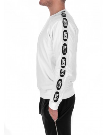 MCQ BY ALEXANDER MCQUEEN - Cotton Sweatshirt with Logo Band on Sleeves - White