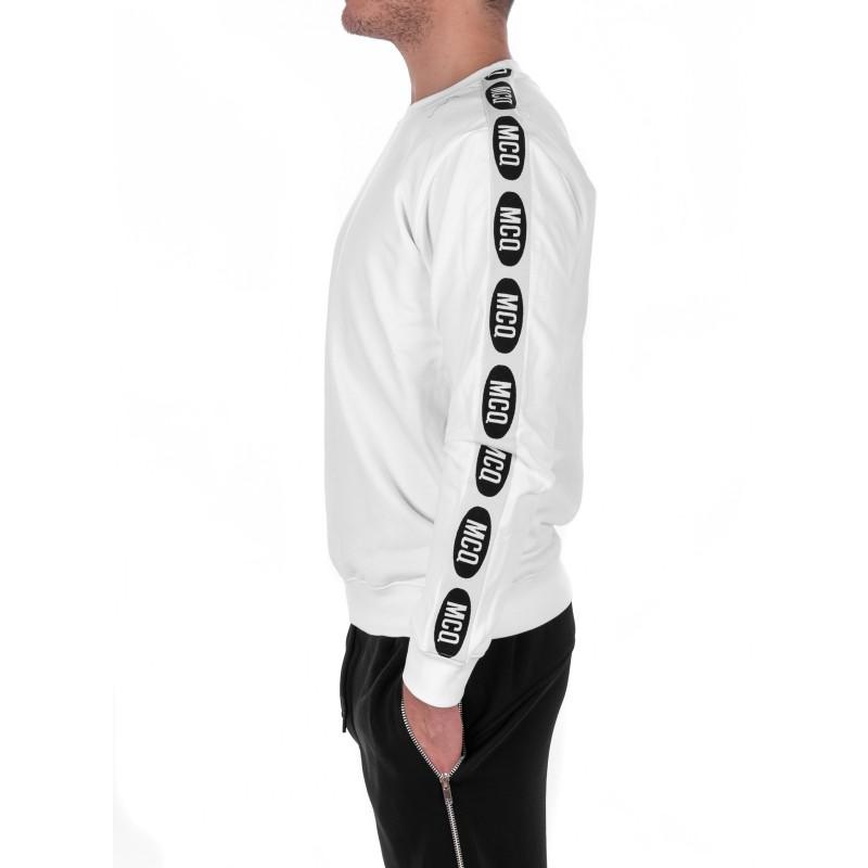 MCQ BY ALEXANDER MCQUEEN - Felpa in Cotone con Banda Logo - Bianco