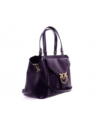 PINKO - Calf and Silk Bag AVOSSA   Dark Purple
