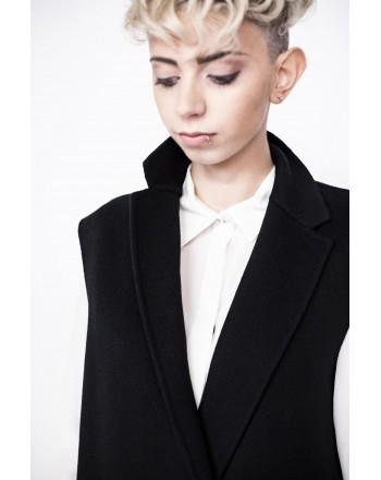 WEEK END MAX MARA - OSMIO Long wool waistcoat - Black