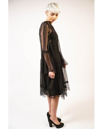 ALBERTA FERRETTI - Chiffon and Macramè  Dress - Black