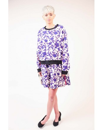 PINKO - Cropped Sweater with Flowers Print RIPETITIVO - White/Cobalt/Red