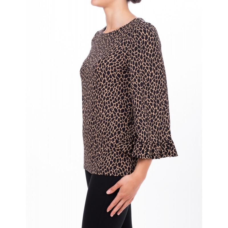 MICHAEL DI MICHAEL KORS - Shirt with wide sleeve on wrists - Dark Camel/Nero