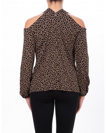 MICHAEL DI MICHAEL KORS - Mesh with uncovered shoulders - Camel/Black