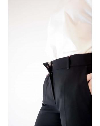 MAX MARA STUDIO - Pantalone SALATO in cady di cotone - Nero