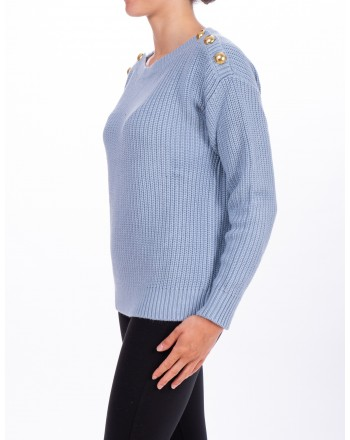 MICHAEL DI MICHAEL KORS - Ribbed sweater with Botton - Chambray