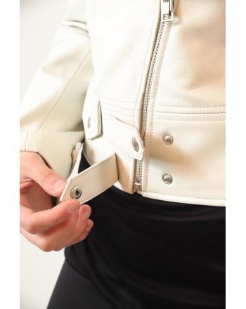 PINKO -  CHIODO Leather Jacket SENSIBILE - White