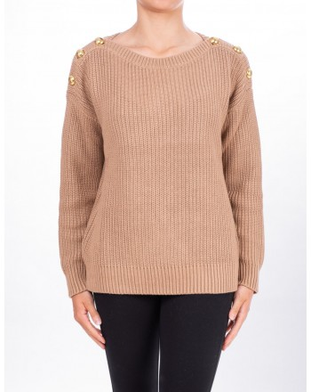 MICHAEL DI MICHAEL KORS - Ribbed sweater with Botton - Dark Camel