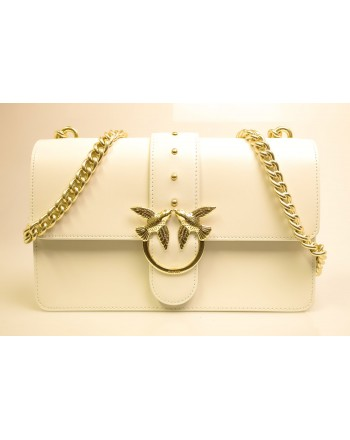 PINKO - Borsa in Pelle LOVE SIMPLY - Bianco