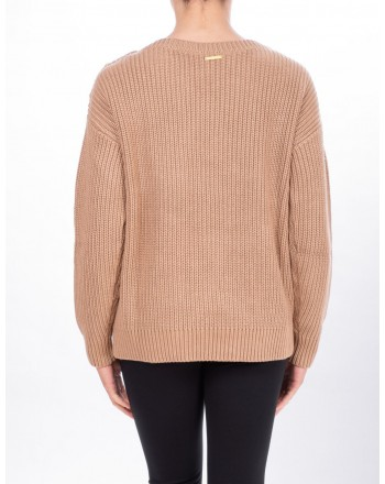 MICHAEL DI MICHAEL KORS - Ribbed sweater with Botton - Dark Camel