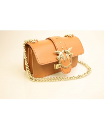 PINKO - Leather Bag MINI LOVE - Light Brown