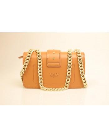 PINKO - Leather Bag MINI LOVE - Light Brown