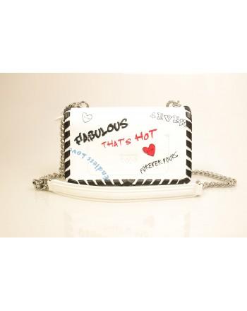 PINKO - LOVE FABULOUS Leather Bag - White