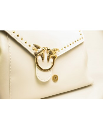 PINKO -  leather bag ABBONDANZA - White
