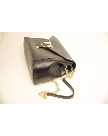 PINKO -  leather bag ABBONDANZA - Black