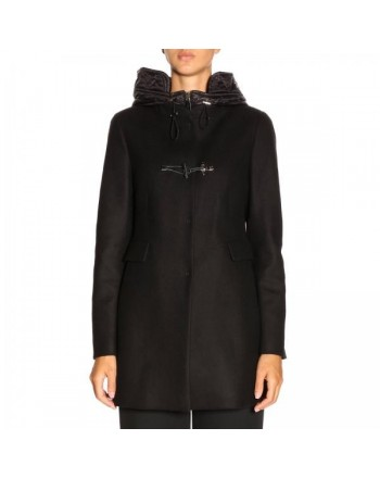 FAY - Montgomery Coat with quilted Hood - Black