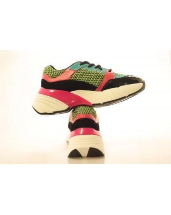 PINKO - Technical Fabric Sneakers - Green/Black/Fuchsia