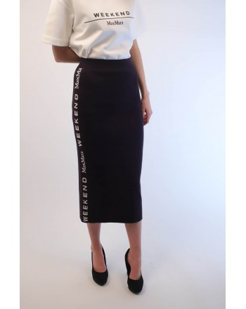 WEEKEND MAX MARA - Viscose Midi Skirt with Side Logo AOSTA - Blue